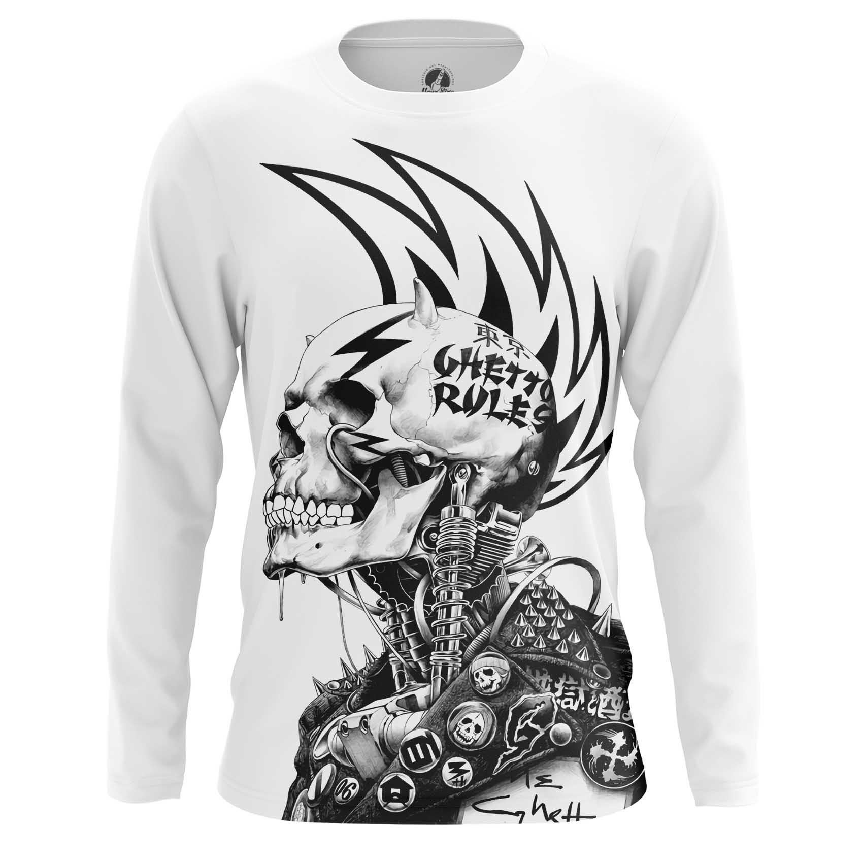 Merch T-Shirt Ghetto Rules Punk Skeleton Iroquois