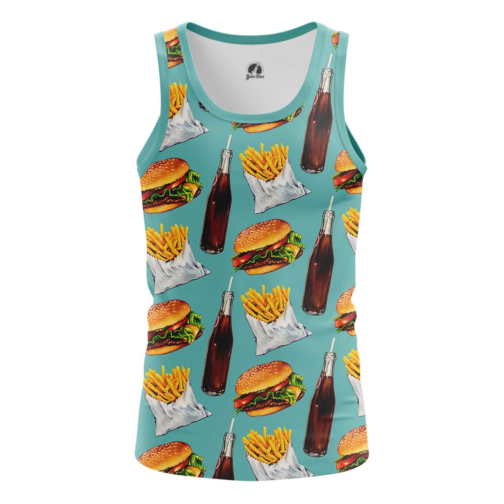 Collectibles T-Shirt Fast Food Burger Coke Pattern