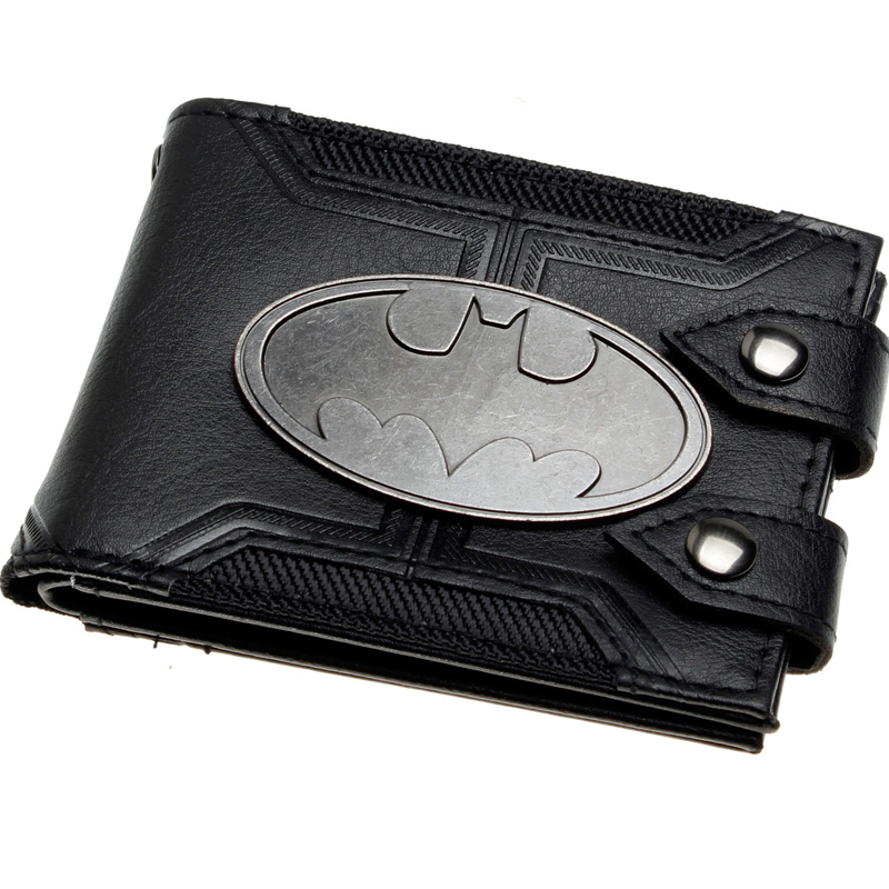 - Batman Black Double Hasp Metal Badge Bi Fold Men Wallet Women Purse Dft 1920