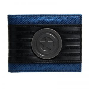 - Captain America Black Metal Badge Bi Fold Wallet Faux Leather Dft 1413