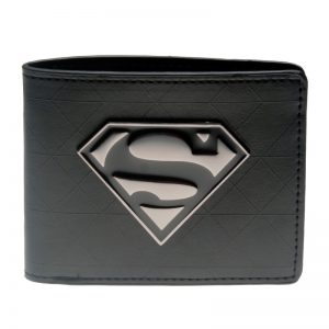 Superman Black Metal Badge Bi Fold Wallet DFT 1328