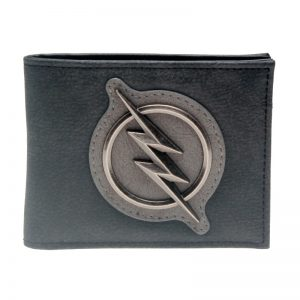 - The Flash Grey Leather Metal Badge Bifold Men Wallet Women Purse Dft 3121