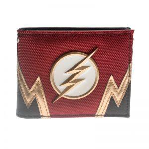 - The Flash Red Embroidered Metal Badge Bifold Men Wallet Women Purse Dft 3155