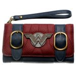 - Wonder Woman Wallet Double Buckle Tri Fold Flap Purse Blue Bordeaux Red Embroidered Metal Badge