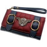Wonder-Woman-Wallet-Double-Buckle-Tri-Fold-Flap-Purse-Blue-Bordeaux-Red-Embroidered-Metal-Badge