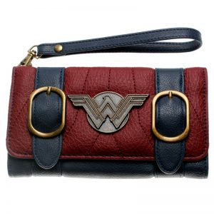 Wonder Woman wallet double buckle tri fold flap purse Blue Bordeaux red embroidered Metal badge