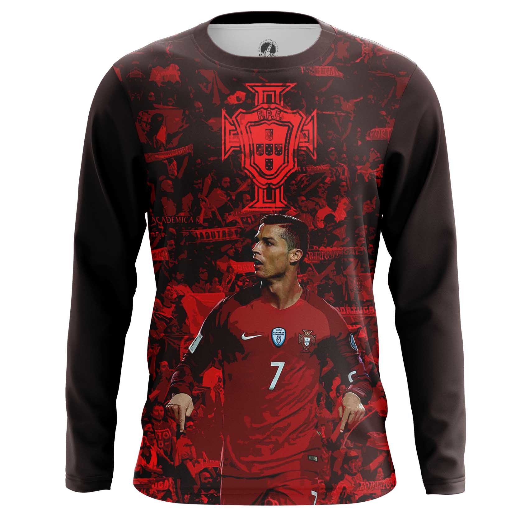 Merch Men'S Long Sleeve Cristiano Ronaldo Picture Fan Art Portugal