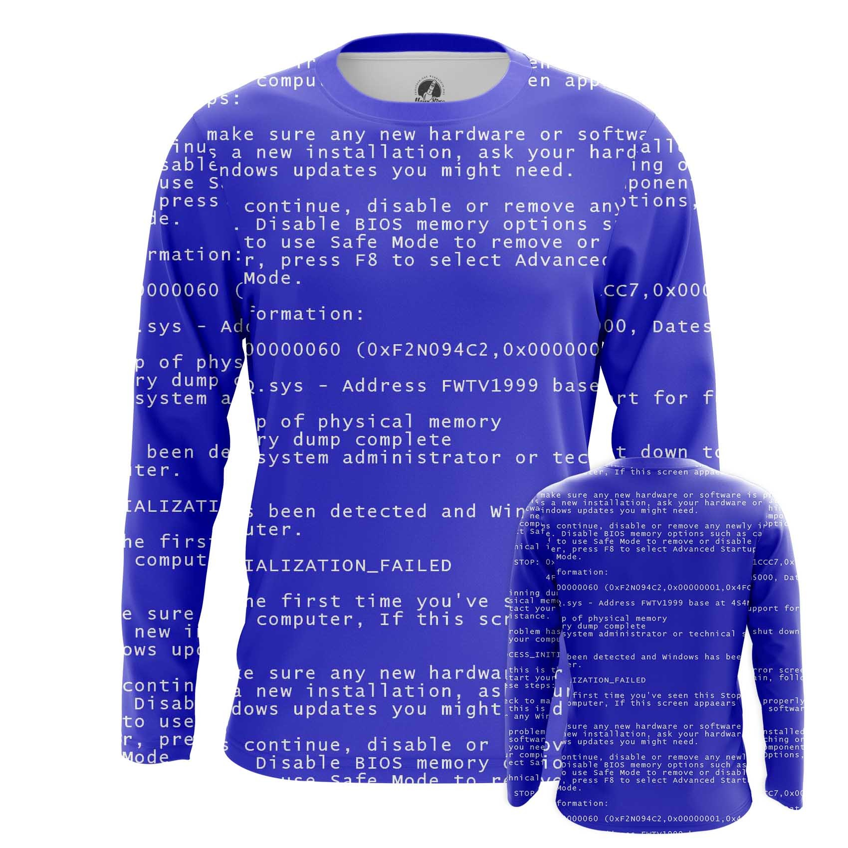 Merch Long Sleeve Blue Screen Of Death Web Fun Art