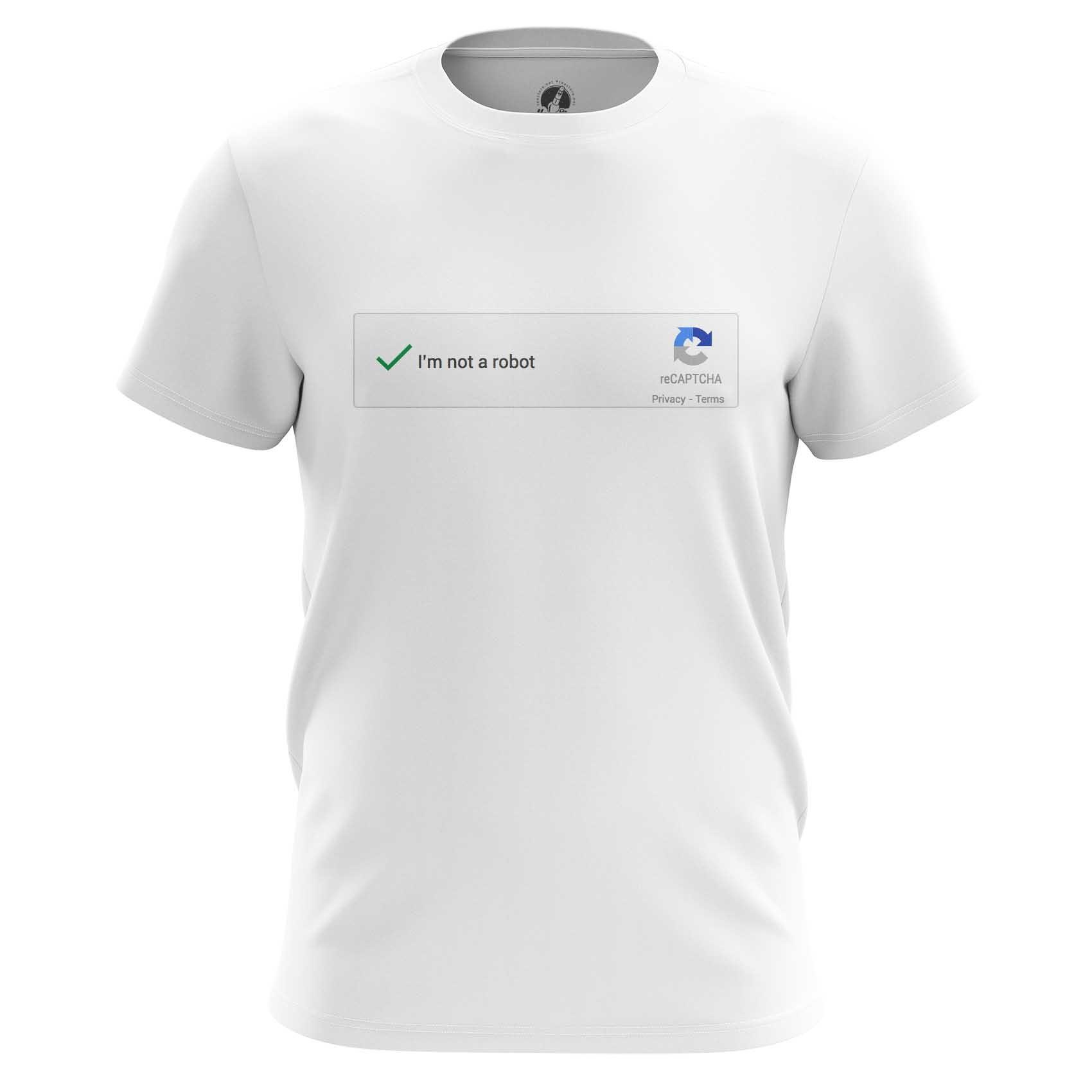 Merch Men'S T-Shirt Not A Robot Mem Art Captcha Web Fun