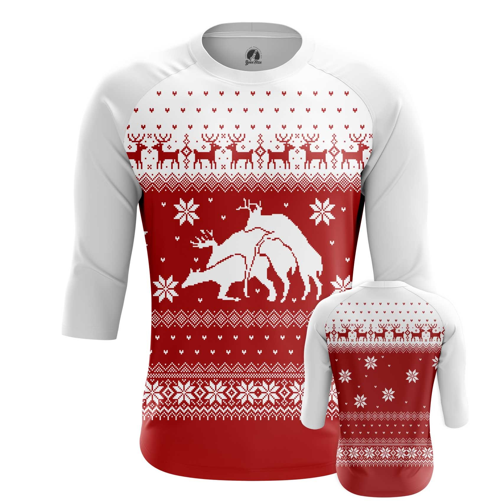Merchandise Men'S T-Shirt Deers Christmas Sweater Santa Fun Art