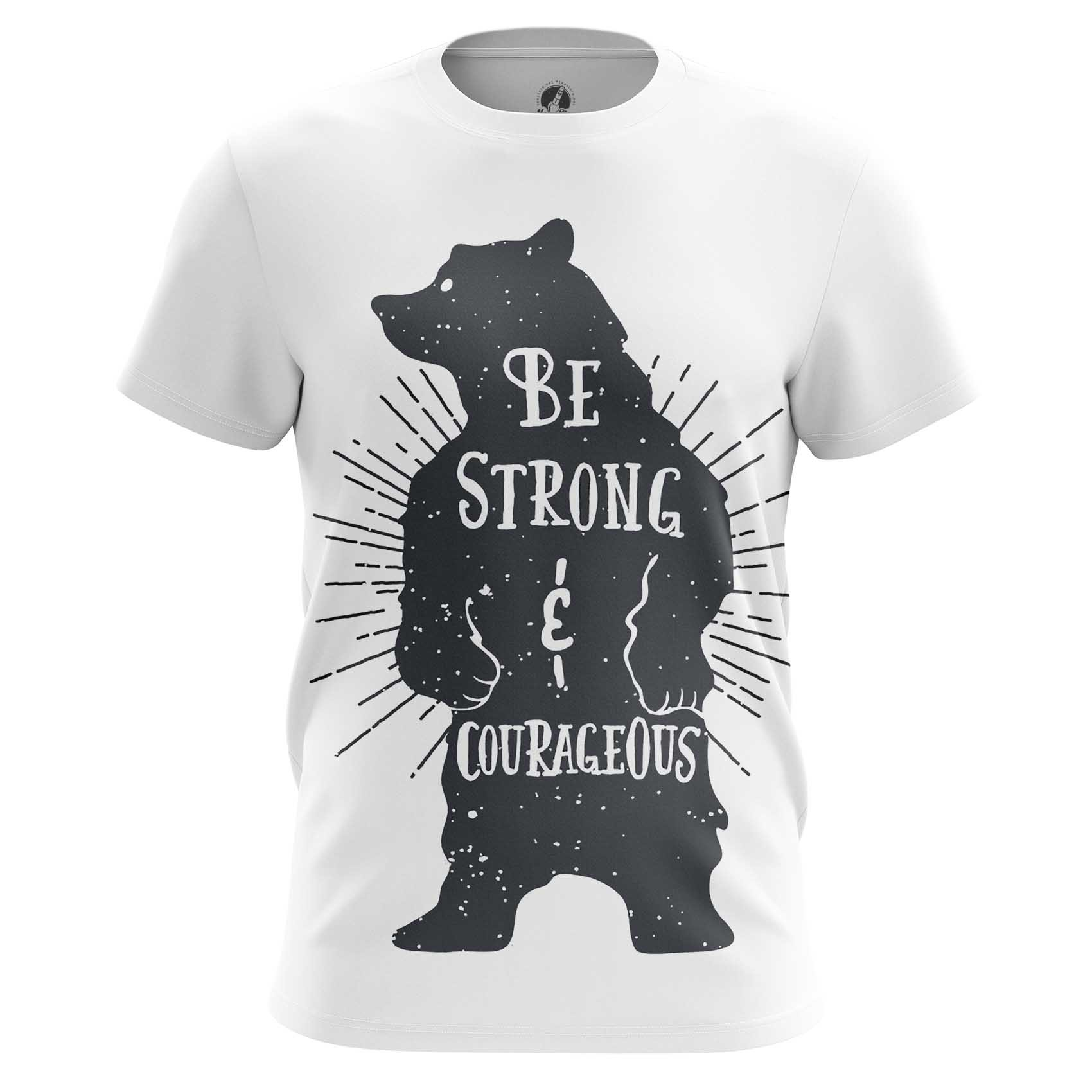 Merch Long Sleeve Strong And Courageous Quote Bear