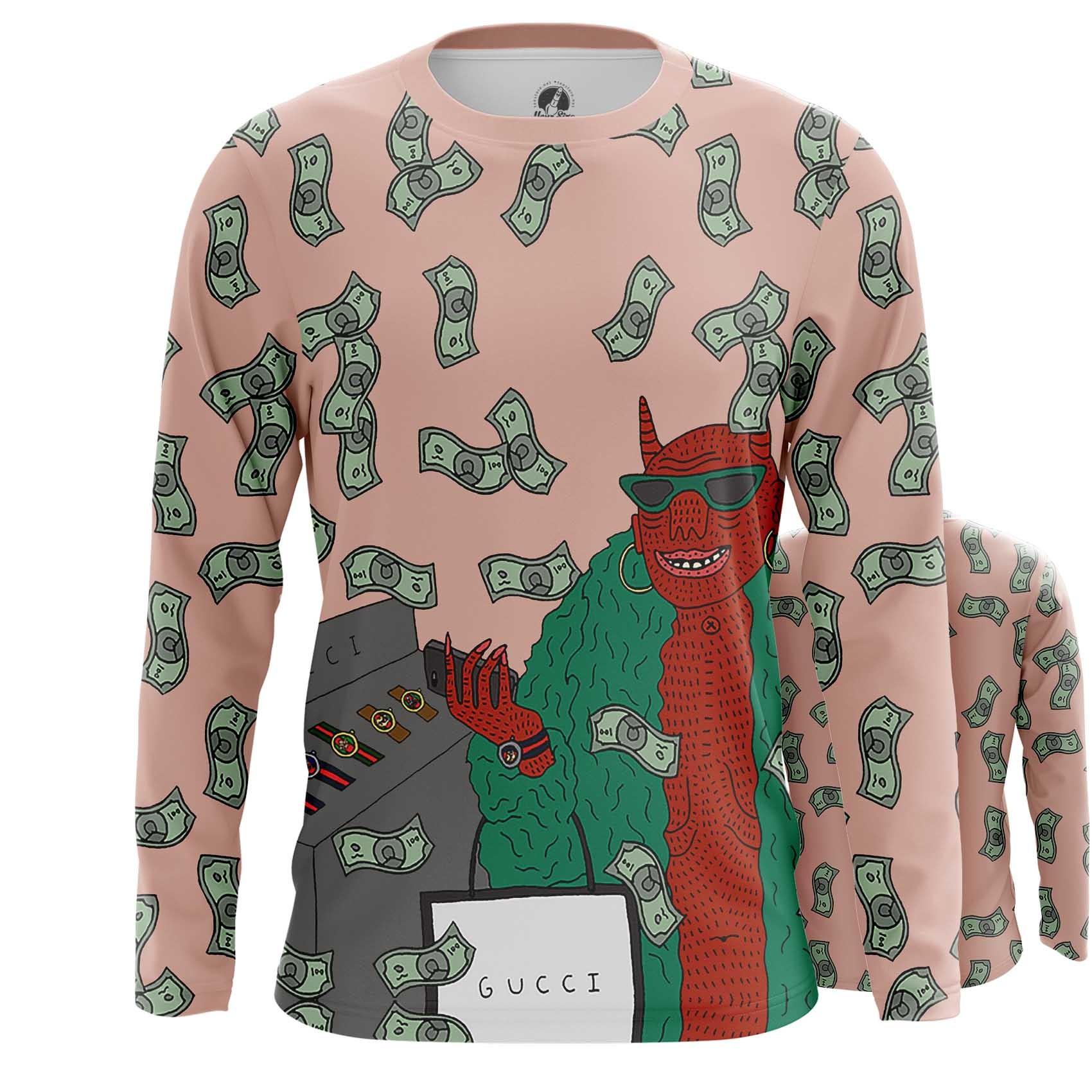 Merch Men'S Long Sleeve Gucci Gang Lil Pump Web Fan Art Illustration