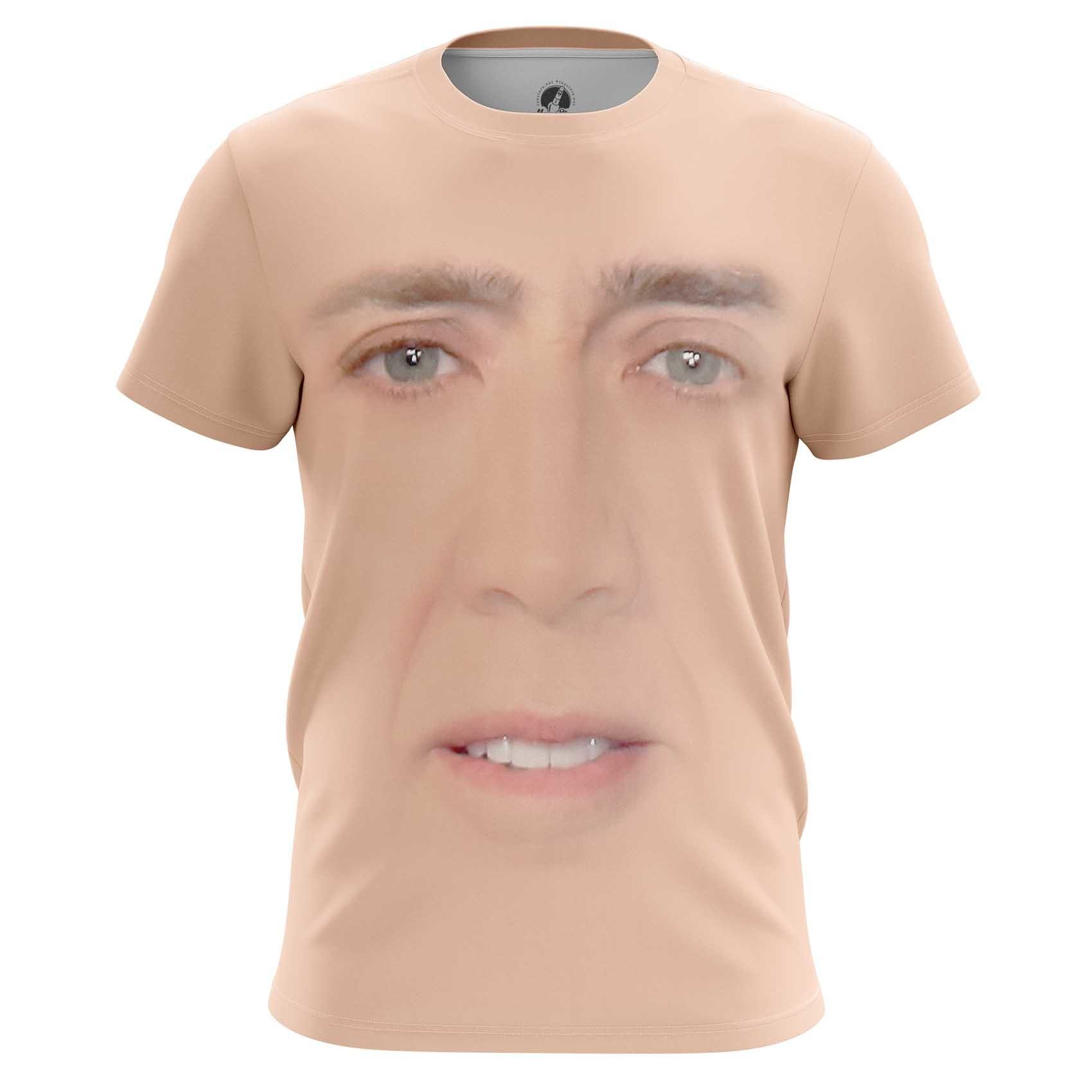 Collectibles Long Sleeve Nicolas Cage Face Art Meme Fun