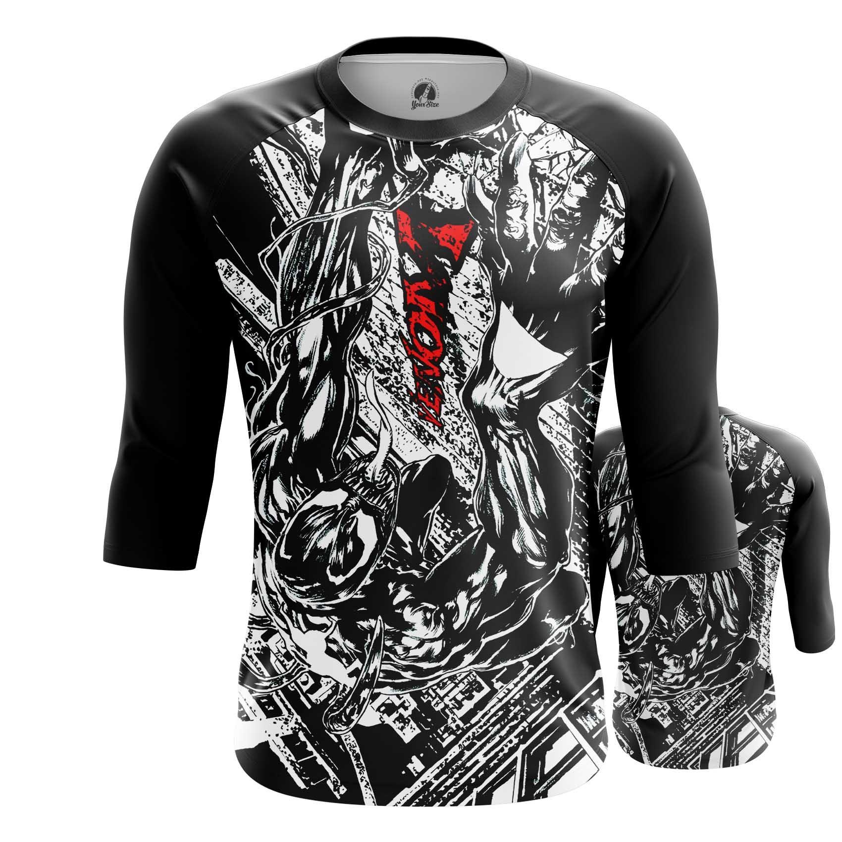 Merch Men'S Long Sleeve Venom Symbiote Black And White Title Logo