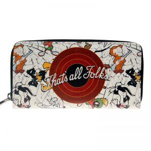 - Looney Tunes Zip Around Wallet Pu Long Fashion Women Wallets Designer Brand Purse Lady Party Wallet