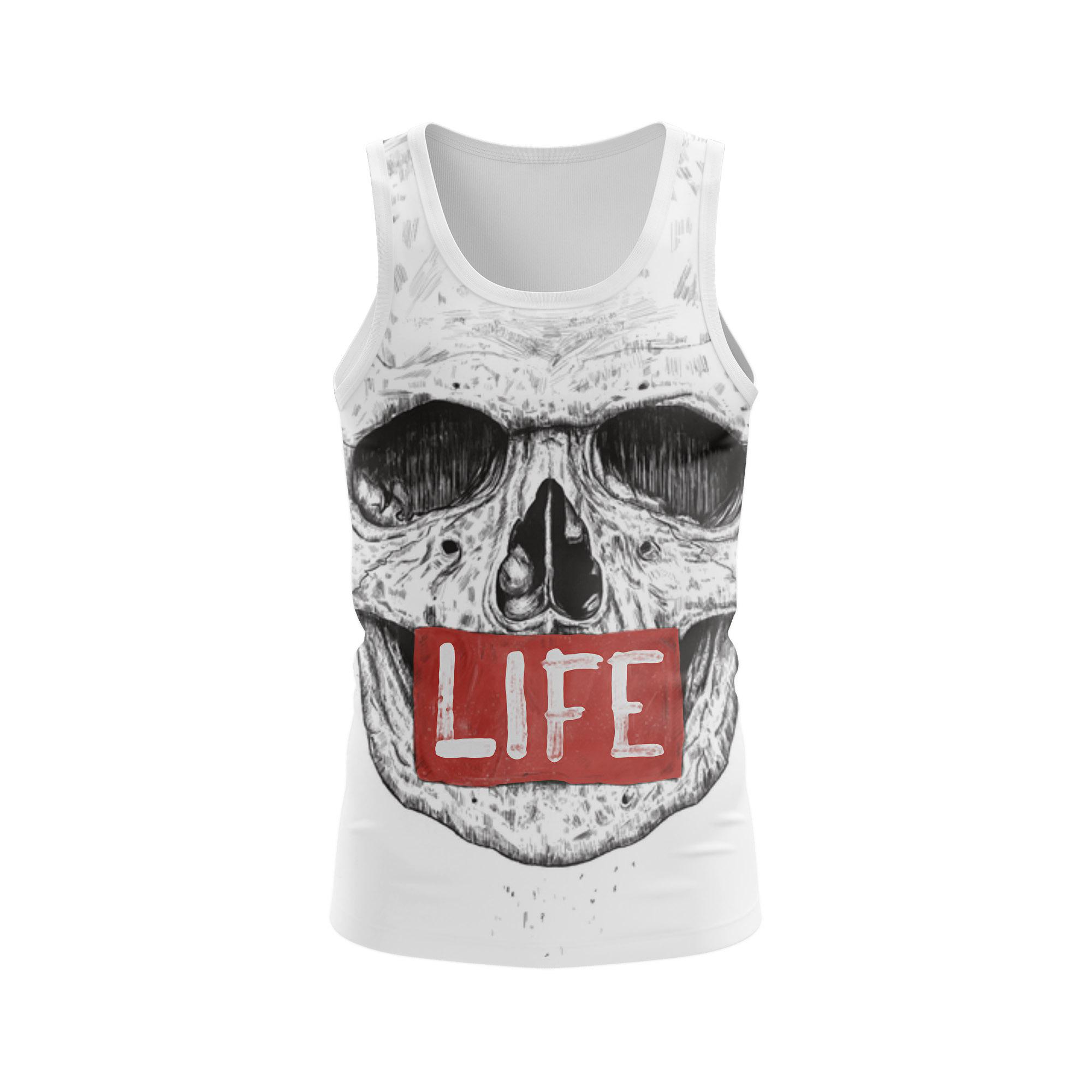 Merch Men'S Tank Life Skull Sign Vest