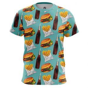 Merchandise T-Shirt Fast Food Burger Coke Pattern