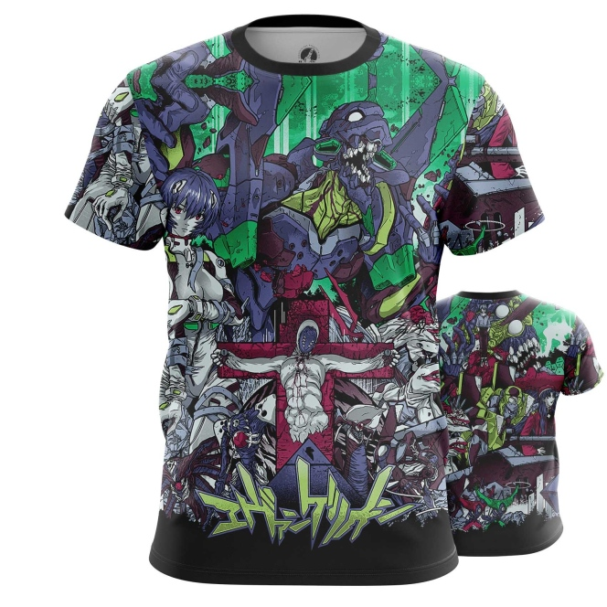 Merch Evangelion T-Shirt Neon Genesis Eva Animated
