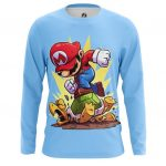 Collectibles Men'S Long Sleeve Mario Turtle Attack Game Illustration