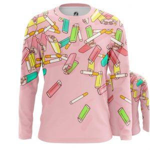 Merch Long Sleeve Cigarettes Lighter Pop Art Inspired Textures Pattern