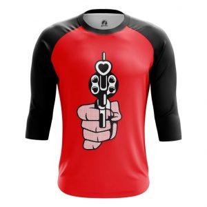Merch Raglan Revolver Love Gun Hearts Bullets Pop Art
