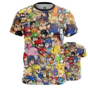 Merchandise Men'S T-Shirt Nintendo World Game Characters All Stars