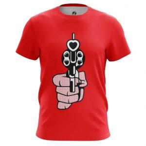 Merch T-Shirt Revolver Love Gun Hearts Bullets Pop Art