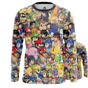 Merchandise Men'S Long Sleeve Nintendo World Game Characters All Stars
