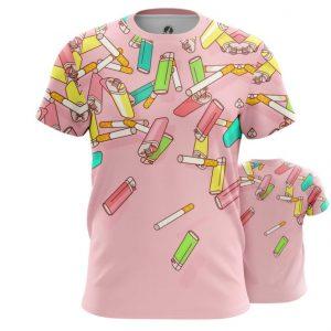 Merch T-Shirt Cigarettes Lighter Pop Art Inspired Textures Pattern