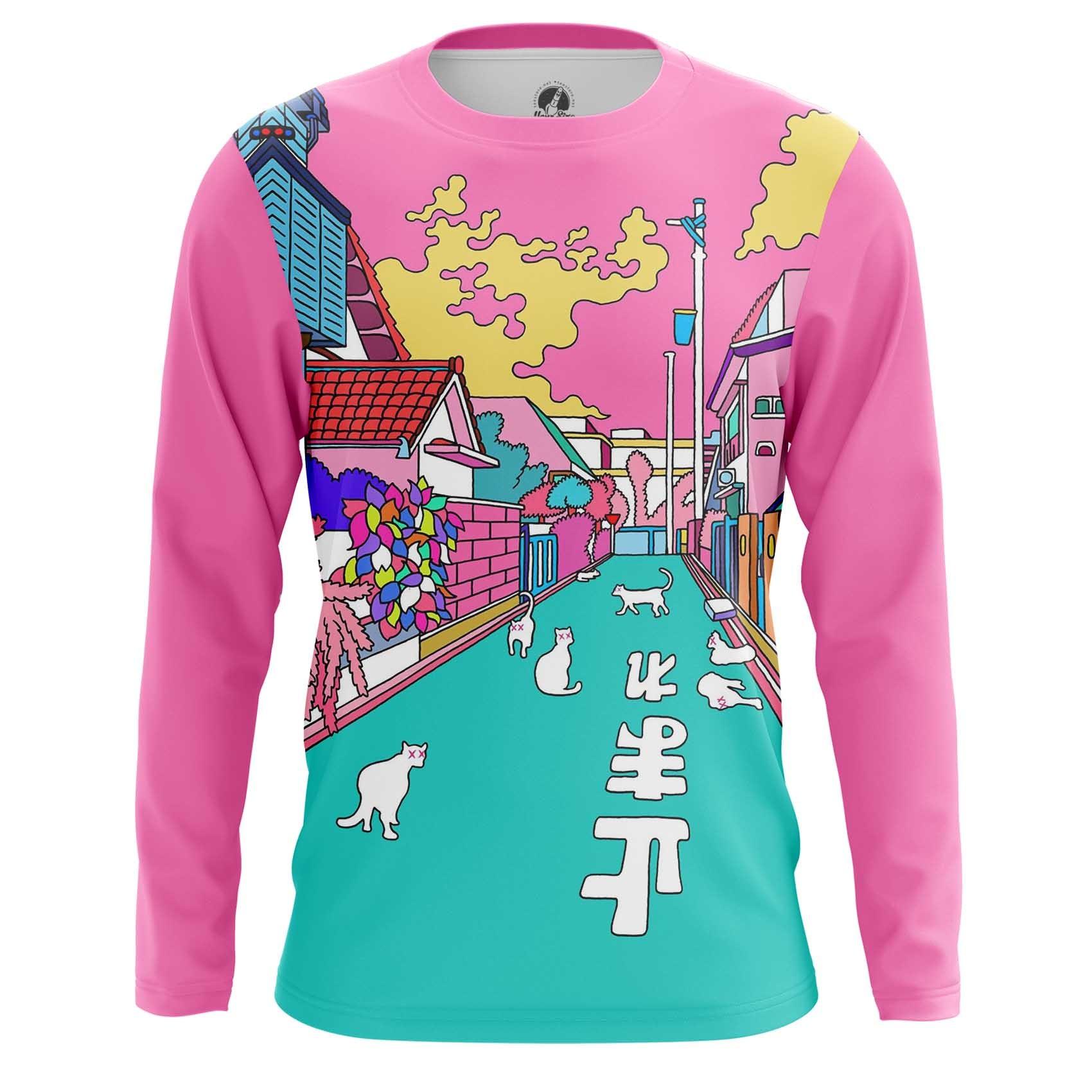 Merchandise Men'S Long Sleeve Asian Japanese Street Pink Art Illustration