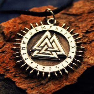 Merch Necklace Scandinavian Mythology Walhall Valknut Pendant