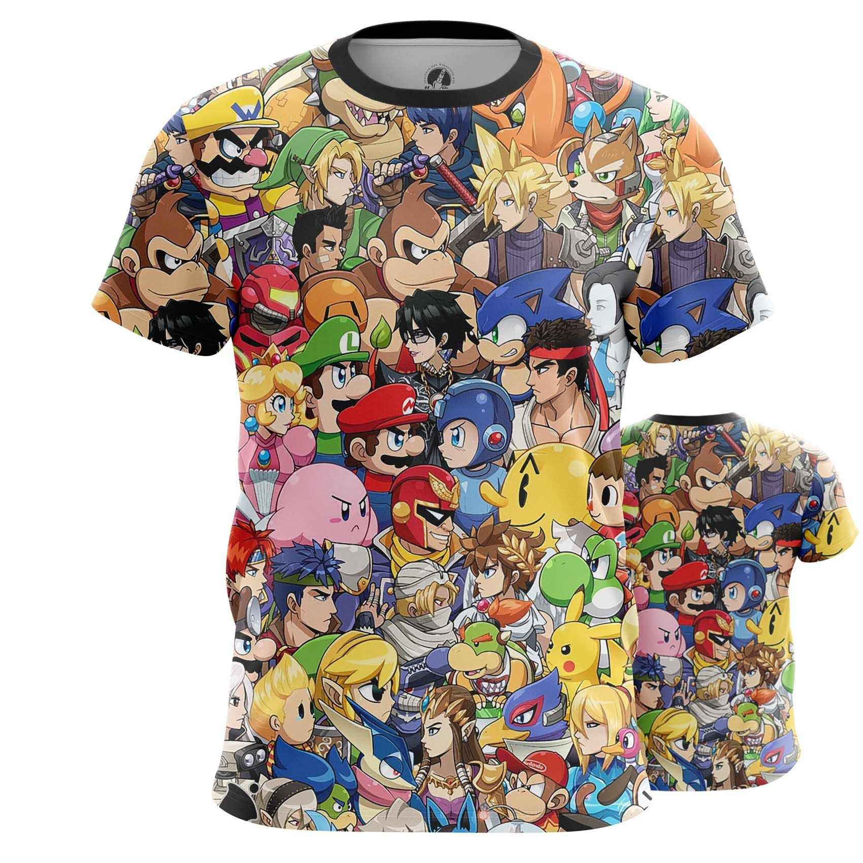 Collectibles Men'S Long Sleeve Nintendo World Game Characters All Stars