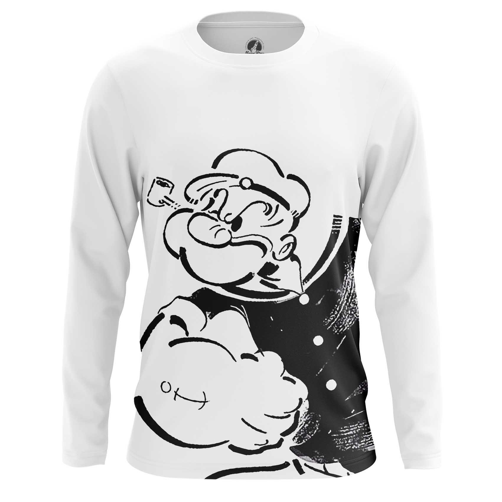 Merchandise Long Sleeve Popeye Sailor Black And White Shirts