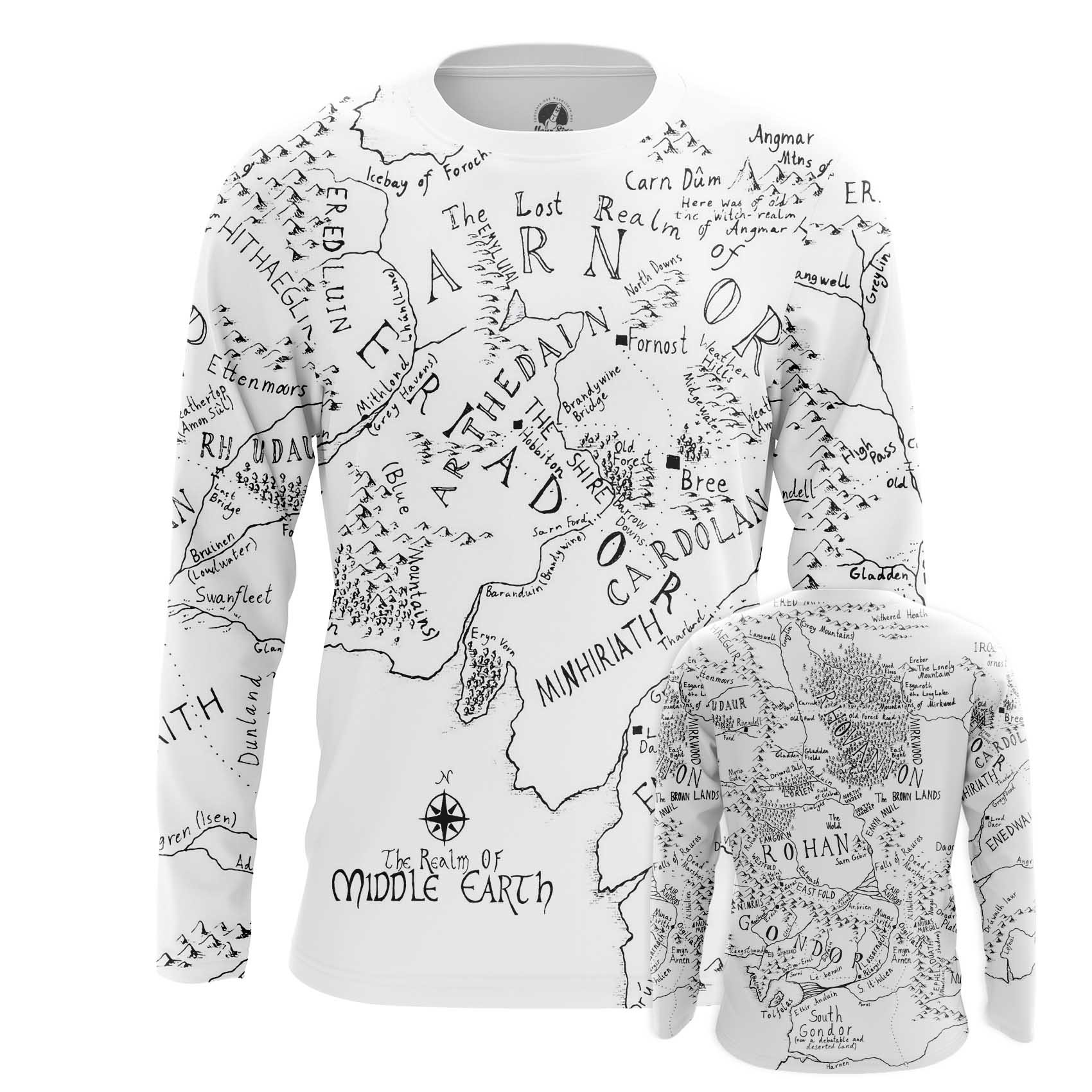 Merch Men'S T-Shirt Middle Earth Lord Of Rings Map