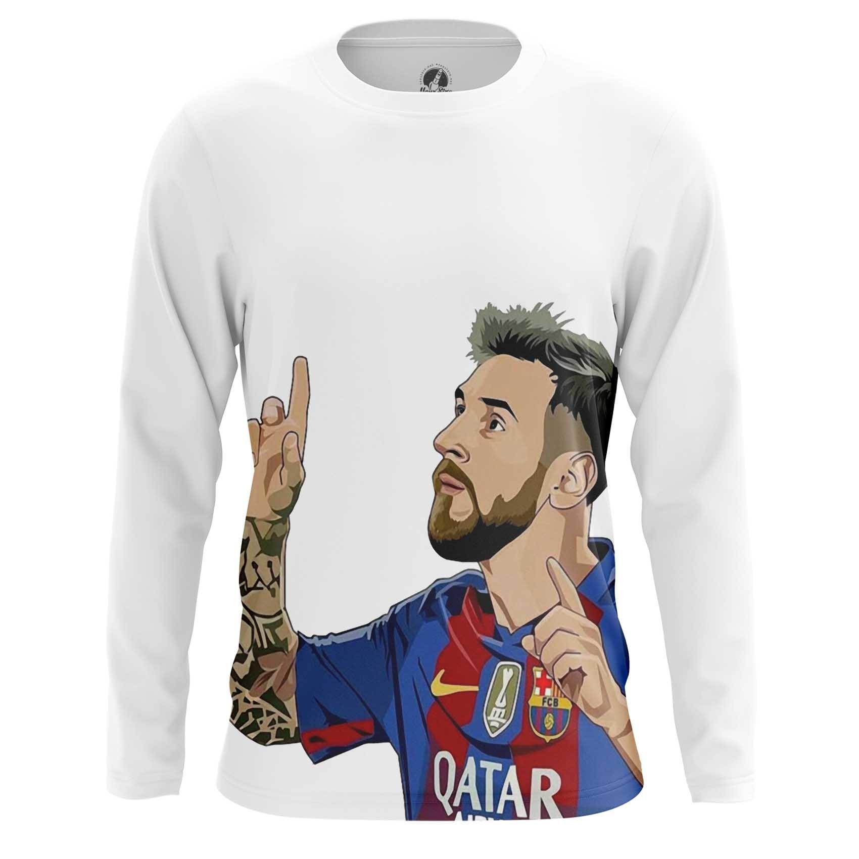 Merch Men'S Long Sleeve Lionel Messi Illustration Fan Art