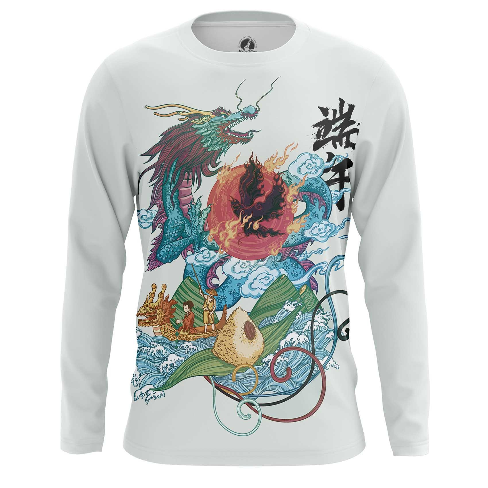 Merch Long Sleeve Mythical Japanese Dragon Print Asian Folk