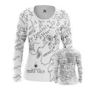 Merchandise Women'S Long Sleeve Middle Earth Lord Of Rings Map