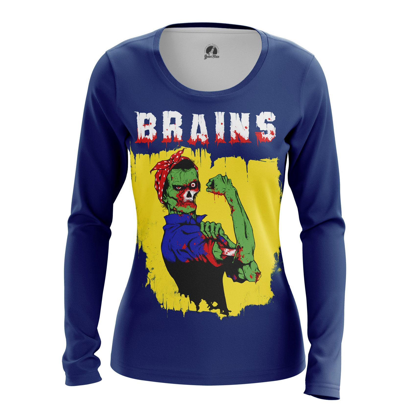 Merch Women'S Long Sleeve Brains Zombie We Can Do It Meme