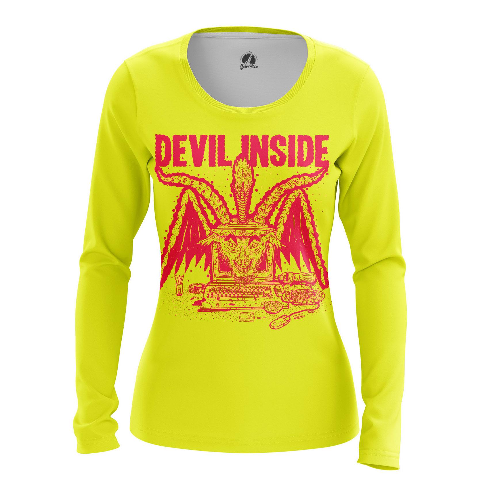 Merch Women'S Raglan Devil Inside Satan Phrase