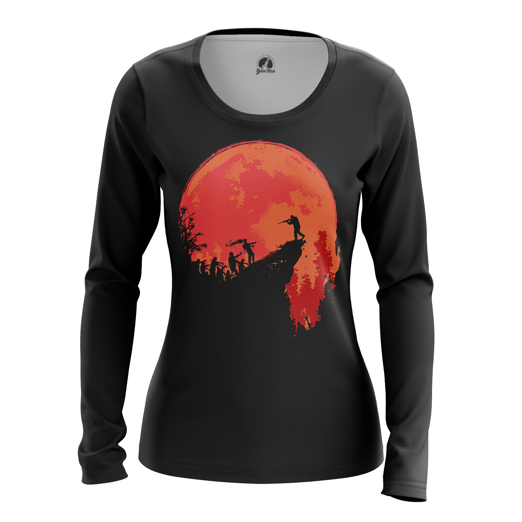 Merch Women'S Raglan Hunt Zombie Red Moon