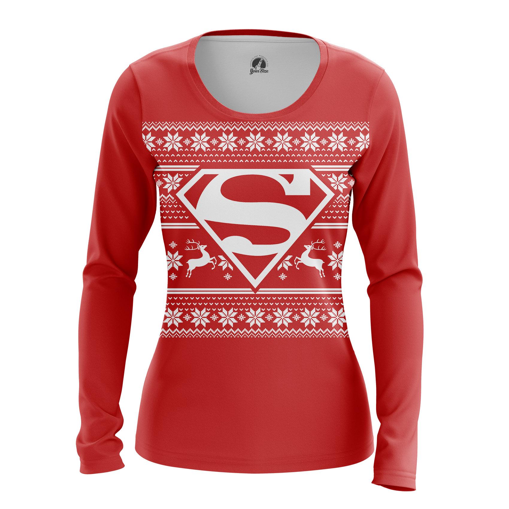 Merchandise - Women'S Long Sleeve Christmas Superman Pattern