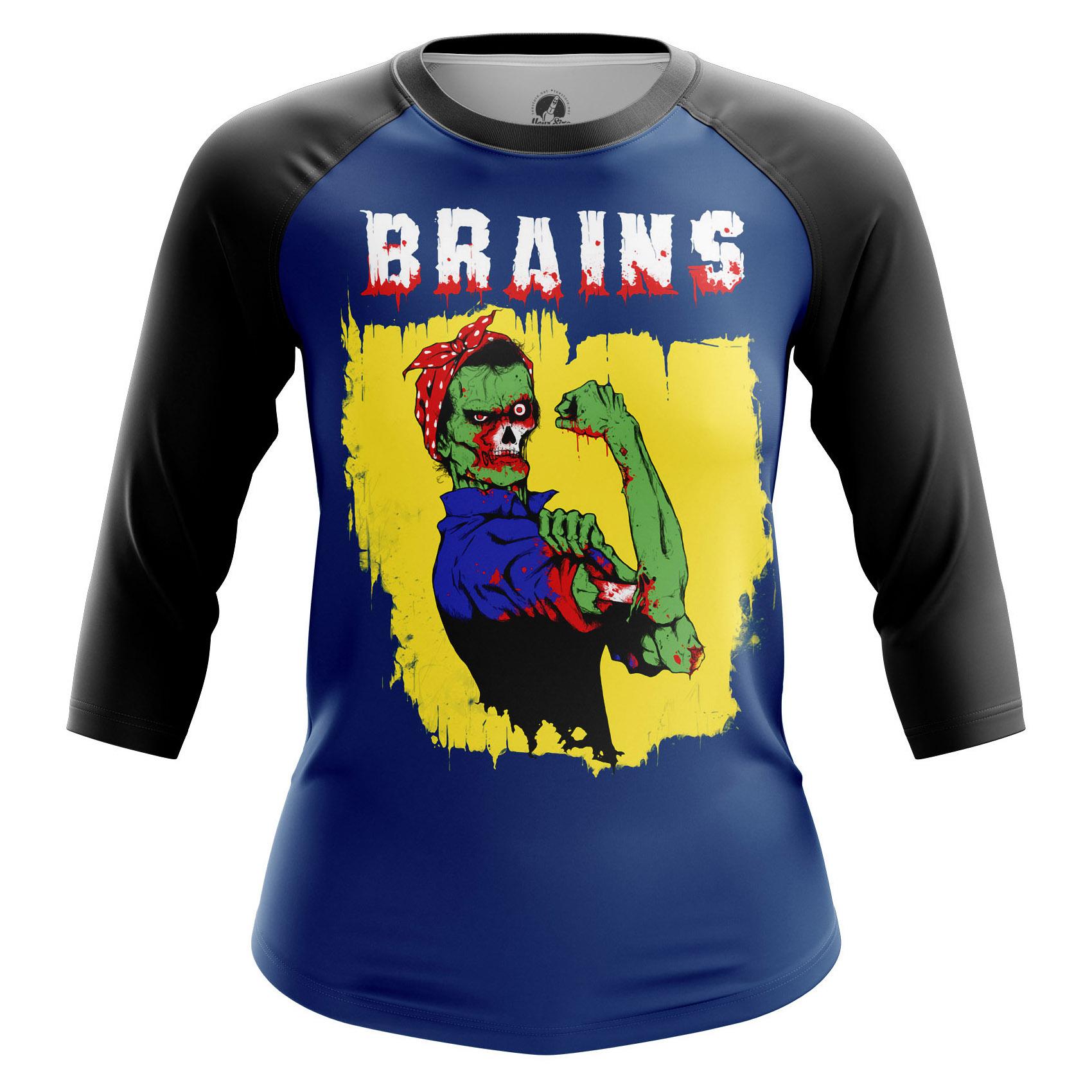 Merch Women'S Raglan Brains Zombie We Can Do It
