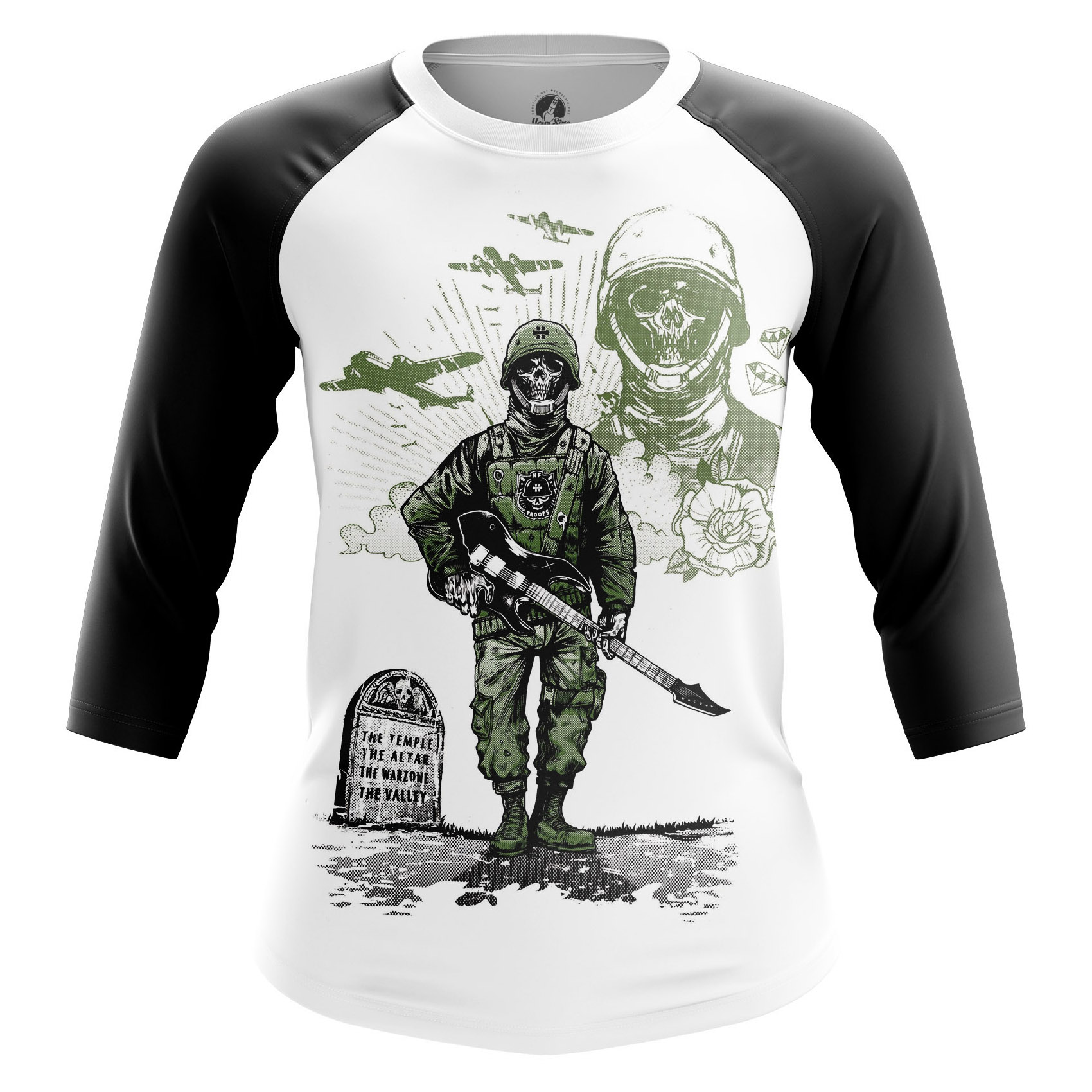Collectibles Women'S Raglan Rock War Skulls Shirts