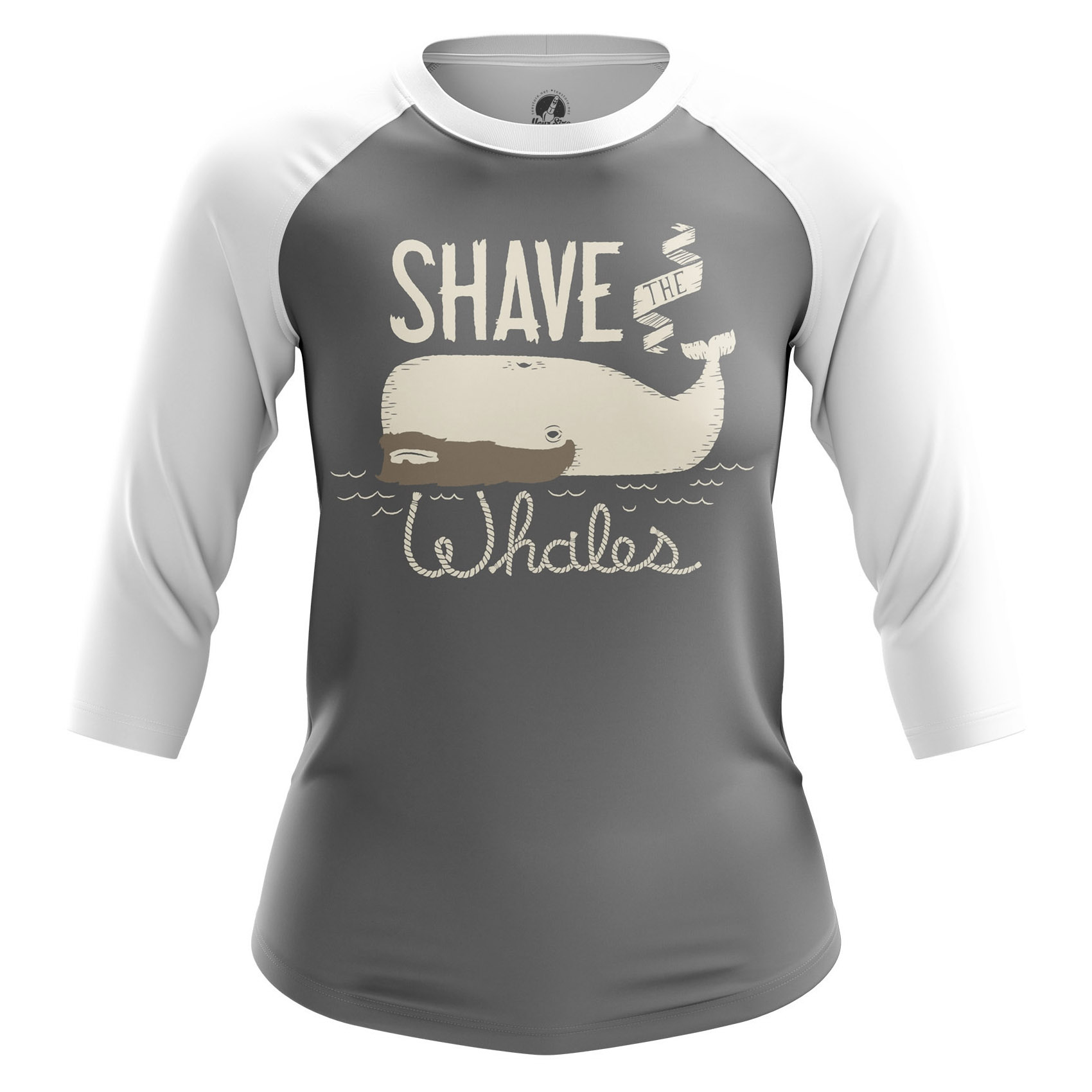 Merchandise Women'S Raglan Shave Whales Animals Big Whales Ocean