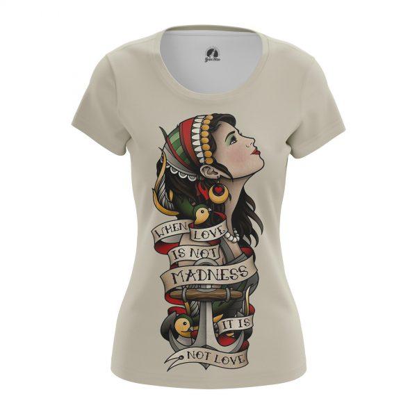 7df3f3c7172be Women's t-shirt Love Madness Tattoo Print Clothes Pattern