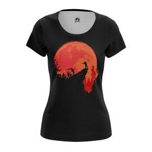 Merch Women'S T-Shirt Hunt Zombie Red Moon