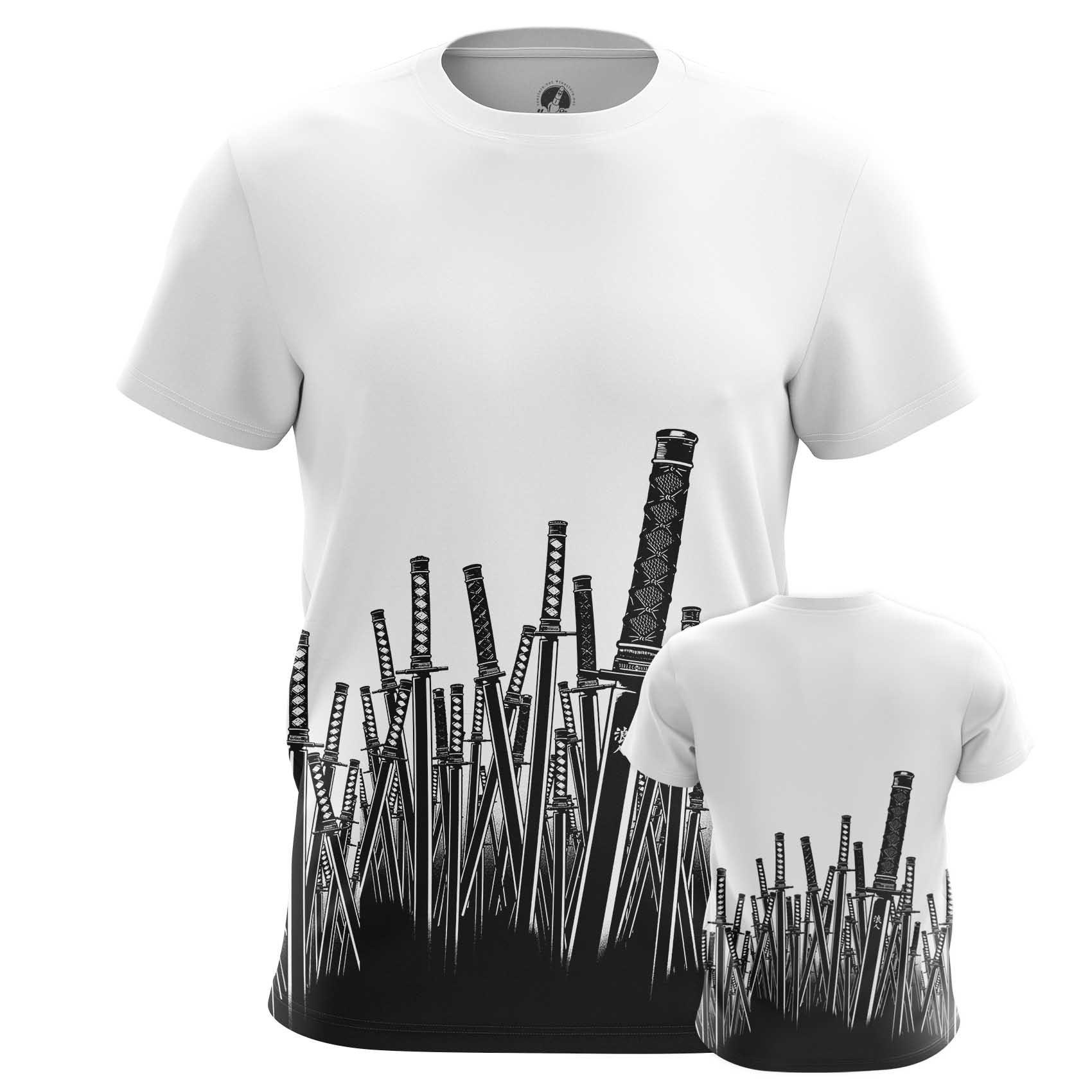 Merchandise Men'S Long Sleeve Samurai Swords Illustration Folk Japanese Art