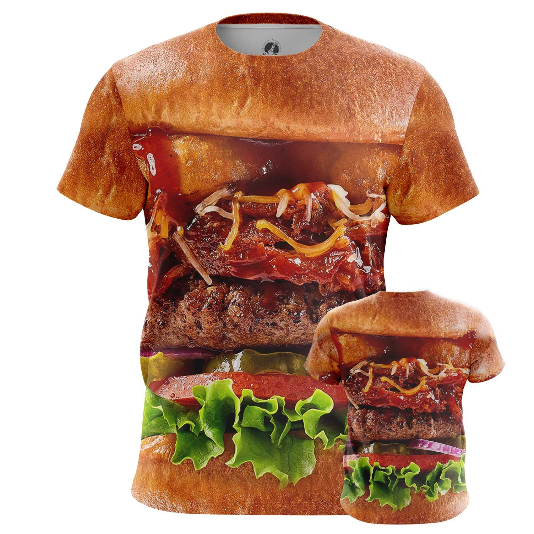Merch Men'S T-Shirt Tasty Food Art Fun Burger Apperel Meat
