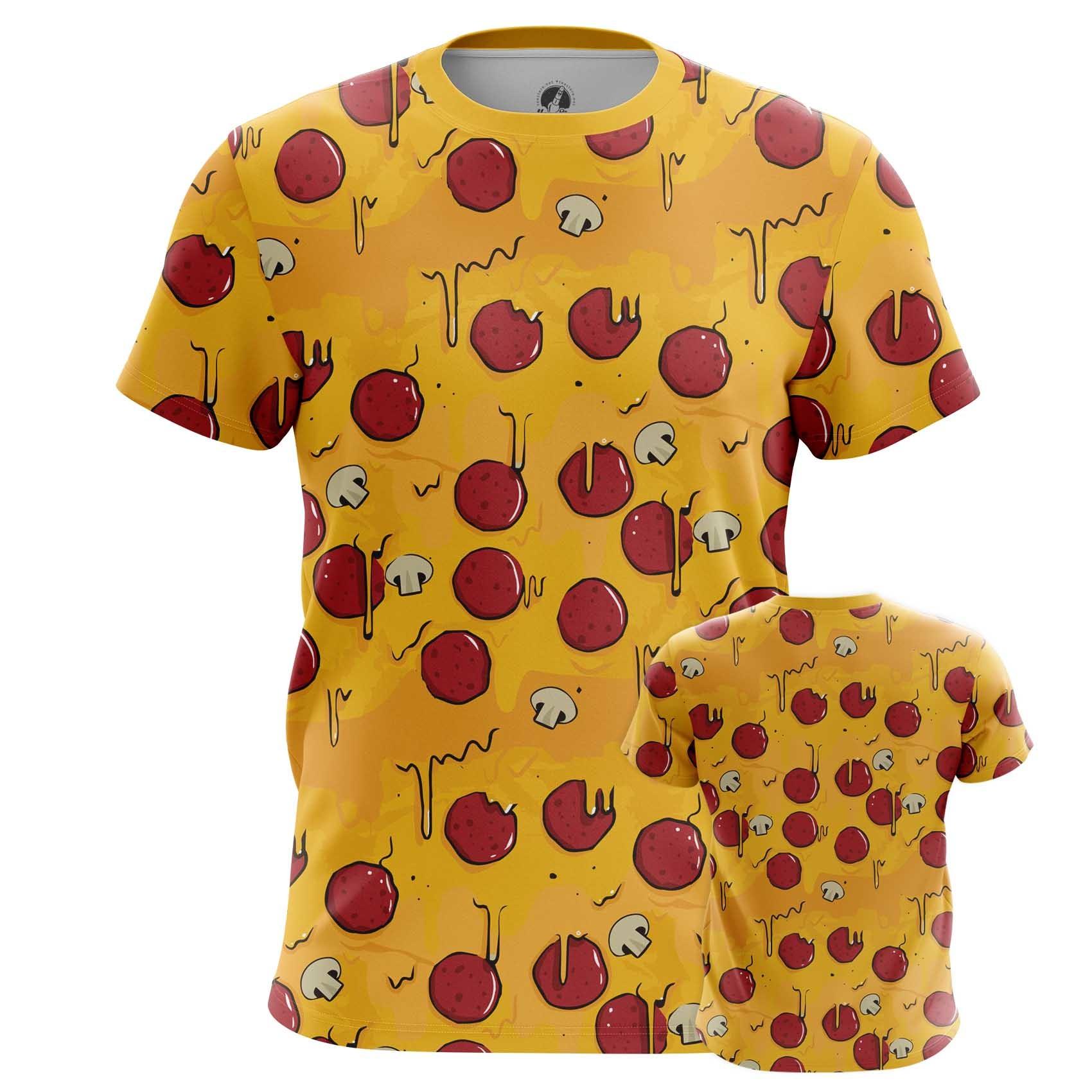 Merch Men'S T-Shirt Pizza Pattern Art Food