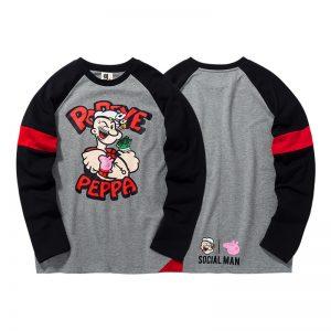Collectibles Long Sleeve T-Shirt Popeye Peppa Pig Social Man Grey